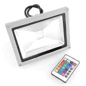 Amzdeal projecteur ext rieur 20w rgb led 16 couleurs avec for Telecommande eclairage exterieur
