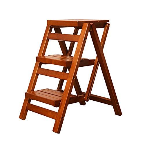 Leiter Montiert Stuhl Rack (Stool Kleine Trittleiter Hocker, Holz 3 Trittleiter für Erwachsene & Kinder Indoor Folding Trittleiter Küche Holzleiter Fuß Hocker Tragbare Schuhbank/Blume Rack (Color : Honey Color))