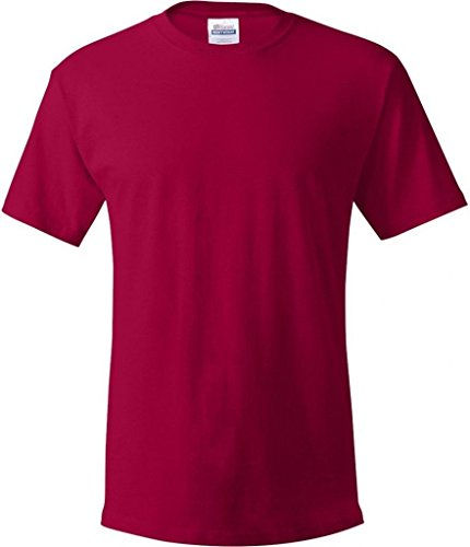 Hanes Mens Double-Needle Stitched Sleeves ComfortSoft Cotton Tee Rot - Deep Red