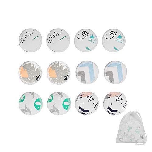 Aolvo Eco Make Up Remover Pads, 12pcs Wiederverwendbare Make-up-Entferner Pads Waschbar Bambus Baumwolle Make-up Entfernen Pads mit Wäschebeutel