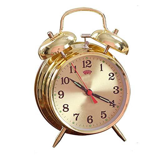 YULAN Despertador Redondo de Cuerda Manual Sueño Lindo Perezoso Campana Doble Cama Sencilla Hermosa Personalidad Creativa Inicio 11.5 CM * 5.5 CM * 16.5 CM