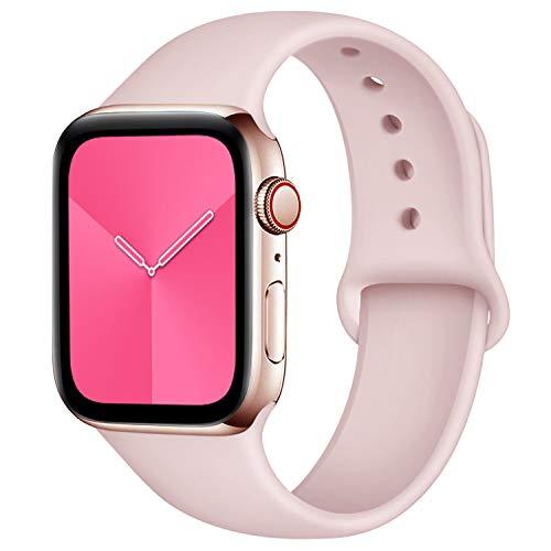 Zekapu Sport Correa para Apple Watch Correa 38mm 42mm 40mm 44mm, Pulsera de Repuesto de Silicona Suave Correa para Apple Watch Series 5/4/3/2/1, 42mm/44mm S/M Rosa