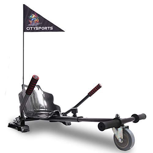 MARKBOARD Hoverkart Sitzscooter Gokart, Hovergokart, Hoverdrift hovercart, Sitz für Elektrokart Self Balancing Scooter, Kompatibel mit 6,5, 8,5 und 10 Zoll Hoverboard (karbon mit Fahne)