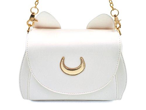 Clutch Aus Weißem Leder Handtaschen (CoolChange Sailor Moon Handtasche aus PU-Leder mit Katzenohren, Creme Weiß)