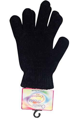 Nuovo donna inverno ciniglia lana lavorato a maglia elastico esterno caldo guanti magici Black Taglia unica