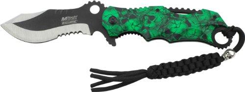 MTech USA Taschenmesser MT-A808 Serie, Messer GRÜN ALU DESIGN AUFSATZ Griff, scharfes Jagdmesser, Outdoormesser 8,89 cm ROSTFREI Klinge Halbgezahnt, Klappmesser für  Angeln/ Jagd - Hunter Grün Griffe