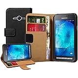 Membrane - Noir Portefeuille Etui Coque Samsung Galaxy Xcover 3 (SM-G388F) - Wallet Case Housse