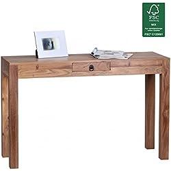 FineBuy Tabla de consola consola de acacia de madera maciza con escritorio 1 caj-n 120 x 40 cm aparador de estilo rural real de madera de color marr-n oscuro Massive Secretario moderna mesa de la naturaleza Aparador PC sala de escritorio