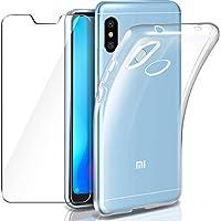 Leathlux Funda + Cristal para Xiaomi Mi A2 Lite, Transparente Mi A2 Lite TPU Silicona [Funda + Vidrio Templado] Ultra Fino Protector de Pantalla Back Case Cover para Xiaomi Mi A2 Lite/Redmi 6 Pro