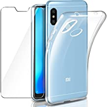 Leathlux Funda + Cristal para Xiaomi Mi A2 Lite, Transparente Mi A2 Lite TPU Silicona [Funda + Vidrio Templado] Ultra Fino Protector de Pantalla Back Case ...