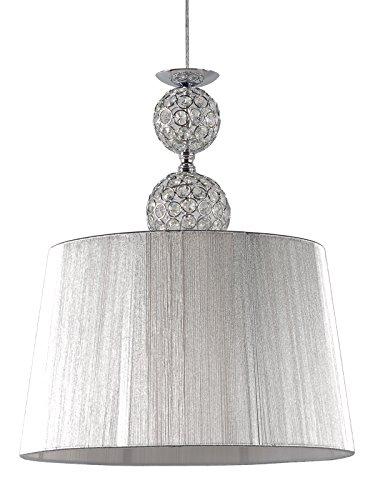 Lampara colgante habitación o salón | Cromo, cristal y pantalla hilo Plata | 1 luz | Ideal para habitación o salón | Admite LED | Elegante, moderna, clásica, diseño | Excelente calidad
