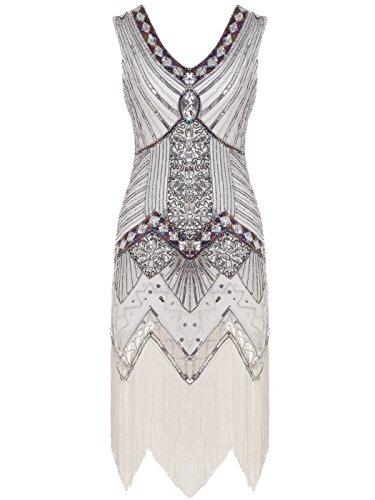 FAIRY COUPLE 1920 Flapper doppelte V-Ausschnitt Pailletten Strass verschönert fransen Kleid D20S003(XS,Weiß)