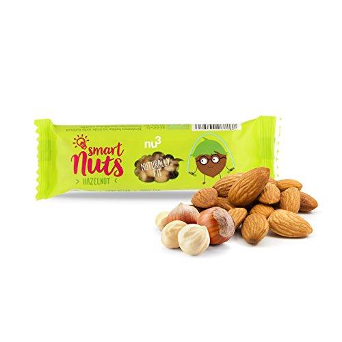 Nu3 15 barrette proteiche alla nocciola da 35g | barrette vegane biologiche smart nuts con mandorle, noci brasiliane, prugne, datteri, mirtilli rossi | solo 200 kcal per barretta | confezione 15 x 35g