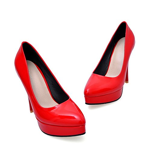VogueZone009 Femme Pointu Stylet Verni Tire Chaussures Légeres Rouge