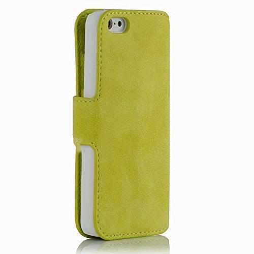 Golden Phoenix KLASSIK Hülle für Apple iPhone SE - 5 - 5S mit Geldfach oder Kartenschlitze - Cover Tasche in Braun Gelb