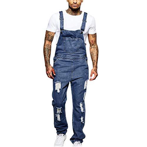 STRIR-Ropa Peto Corte Ajuste Holgado Pantalón Chandal Hombre Mono Vaquero Mezclilla Jumpsuit Casual Pantalones con Agujeros Suelto para Hombre Roto con Peto Tirante con Bolsillos (XL, Azul#0523)
