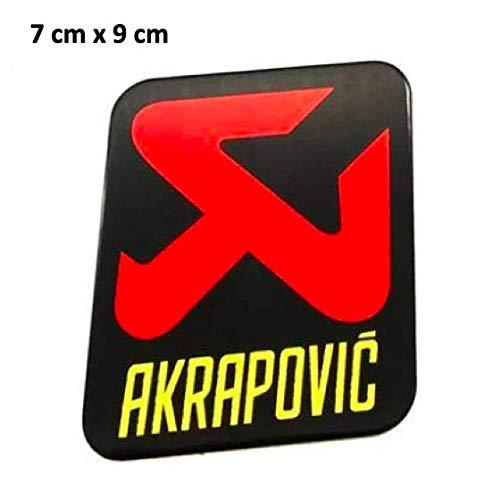 Aufkleber Akrapovic Aufkleberplatte aus Aluminium halbsteif für Abgase Schalldämpfer, hohe Temperatur + 180ºC Vinyl, hochwertig laminiert C