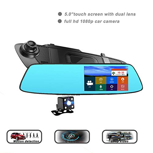 Mirror Dash Cam, 5 Inch Touch Screen 1080P Full HD Front Car Camera Video Recorder und Rear View Backup Camera Dual Lens mit Parking Monitor G-Sensor Loop Recording Reverse Camera