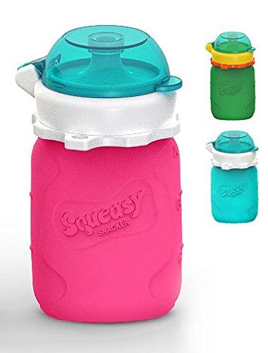 - Wiederverwendbares Quetschie aus Silikon, 100ml, Quetschbeutel zum selbst befüllen, Smoothie To Go fürs Baby. BPA-frei (Pink) ()