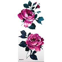 Autocollant de tatouage YiMei imperméable fleurs rouges fleurs roses