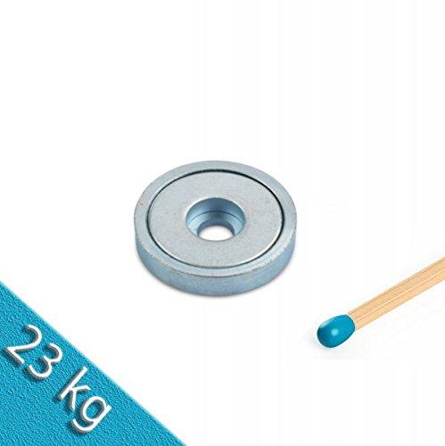 Preisvergleich Produktbild Neodym Flachgreifer Ø 32, 0 x 8, 0 mm mit Bohrung hält 23 kg