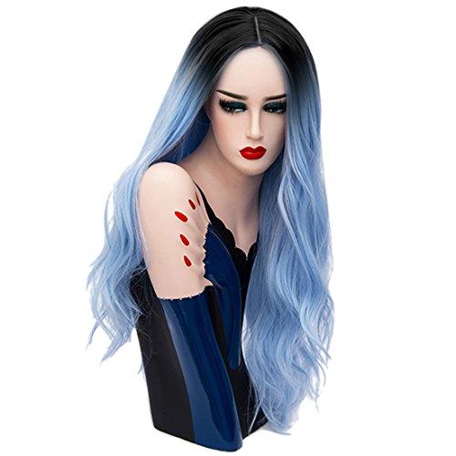 gewellte Locken  mit schwarzem Ansatz 70cm (27.56inch), für Halloween Chirstmas Party Kostüm + Perückennetz eingenäht Sky Blau ()