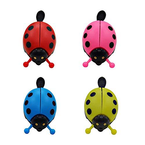 BESPORTBLE 4 stücke Nette Ladybird Lady Bug Glocken Kinder Fahrrad Glocke Ring Ringer Fahrradzubehör (Rot, Gelb, Rosa, ()