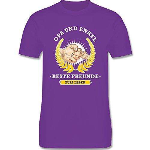Shirtracer Opa - Opa und Enkel - Beste Freunde fürs Leben - Herren T-Shirt Rundhals Lila