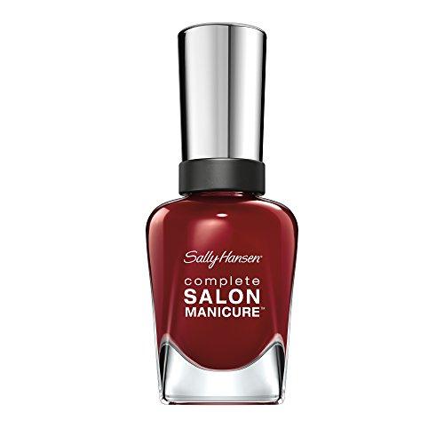 Sally Hansen Complete Salon Manicure Nagellack mit Keratinkomplex Red Zin, Rot, glänzender Pflegelack ohne UV-Licht, langanhaltend Nr. 610, (1 x 14,7 ml)