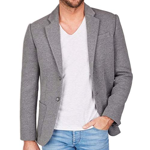 Centered Sakko Herren modern und sportlich - als Casual Jacket oder Blazer (Grau, M)