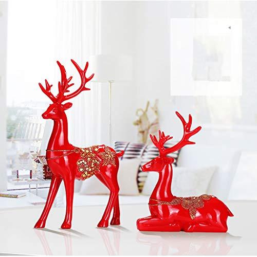 OLDJTK- Lucky Deer Kreative Nordic Dekoration Weinschrank Home Wohnzimmer TV Schrank Dekoration Schreibtisch Dekoration Hochzeitsgeschenke (Color : Red)