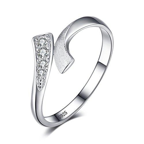 JewelryPalace Doppelte Reihe Wrap Runde Zirkonia Hochzeit Versprechen Ring 925 Sterling Silber (Versprechen Silber 925 Sterling Ringe)