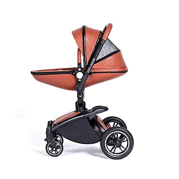 Meen Baby Stroller, High Landscape Leather Two-Way Car 360 Degree Folding Shock Can Sit Lie Baby Car (Color : Brown) Meen * EASY TO FOLD: It can be used in one-button car collection, easy to handle all kinds of occasions, save space, easy to carry, easy and labor-saving * SAFETY SYSTEM: Baby stroller adopts 5-point safety belt, high quality design is safer, and 5-point structure is safer * ADJUSTABLE BACKREST - The stroller backrest can be adjusted at any angle, and the pedal can be adjusted according to the baby's needs, giving the baby a more comfortable experience 2