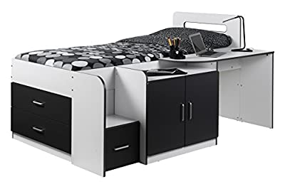 Julian Bowen Cookie Cabin Bed, Wood, White/Charcoal