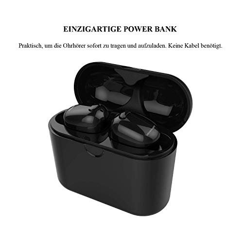 NENRENT S570 TWS Bluetooth-Ohrhörer, die kleinste Mini-Wireless-Bluetooth-Headset unsichtbar v4.1 Zwillinge Kopfhörer mit 400mAh Ladegerät Fall für iPhone ipad Samsung Galaxy lg 1 Stück Schwarz