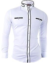 D&R Fashion Men's Shirt with Fashionable Cut Grandad Collar and Decorative Fastening