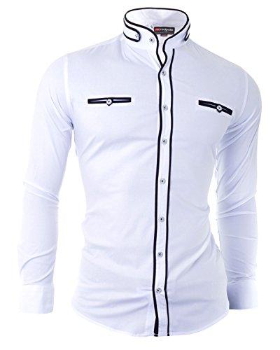 D&R Fashion für Männer Hemd mit modischen Schnitt Grandad Kragen und Dekorative Fastening Weiß schwarz