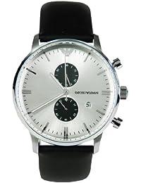 Emporio Armani AR0385 - Reloj cronógrafo de cuarzo para hombre, correa de cuero color negro (cronómetro)