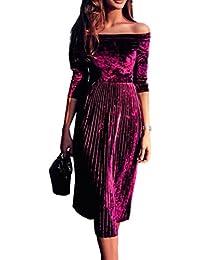 Amlaiworld Primavera Donna off Spalla Vestito di Velluto Signore Sera  Partito Elegante Abito (M 055415f0c17