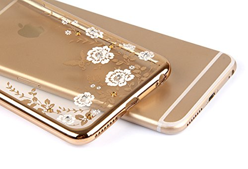"iPhone 6sPlus Hülle Glitzer-Strass Case, CLTPY iPhone 6Plus Schutzfall Plating TPU Transparent Dünne Handytasche im Elegante Stylisch Series, Luxus Bling Schale für 5.5"" Apple iPhone 6Plus/6sPlus (Nic Weiße Blumen"