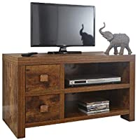 Home Source Particle Board Study Walnut Effect 2 Drawer 1 Shelf TV Stand Entertainment Unit