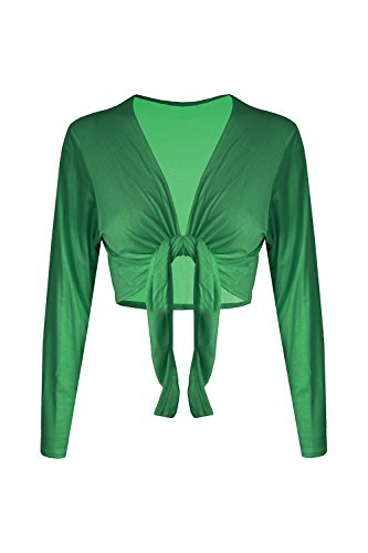 Trendy-Clothings Boléro à manches longues en Jersey Cardigan court pour boléro nouettes - Jade Green - Girls Knotted Cropped Top Stylish