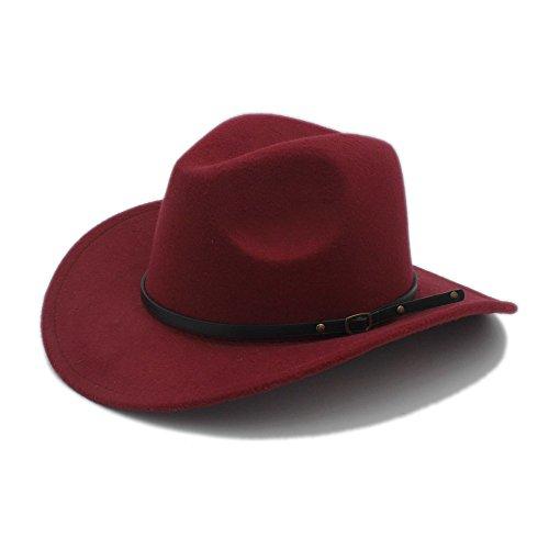W.Z.H.H.H Mode Hut Männer Western Cowboy Hut Für Gentleman Cowgirl Jazz Church Cap Mit Leder Toca Sombrero Cap Resistol Cowboy Hüte Outdoor Mütze (Farbe : 6, Größe : 57-58 cm) -