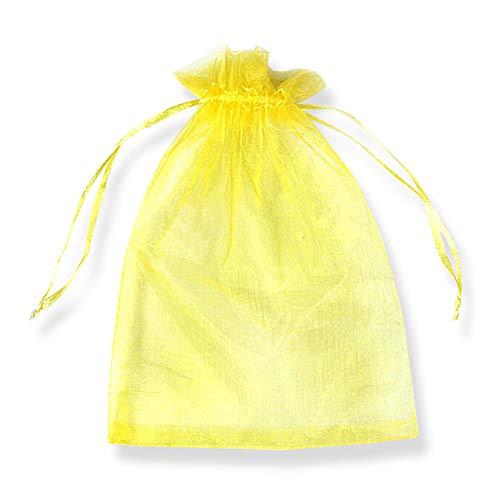 SXUUXB 100 Stück Organzabeutel 20x30cm(7.8x11.8 Zoll), Organza Geschenk Schmuck Beutel Wrap Drawstring Taschen für Hochzeits Bevorzugungs Geburtstagsfeier Festival Geschenk Dekoration (Gelb)