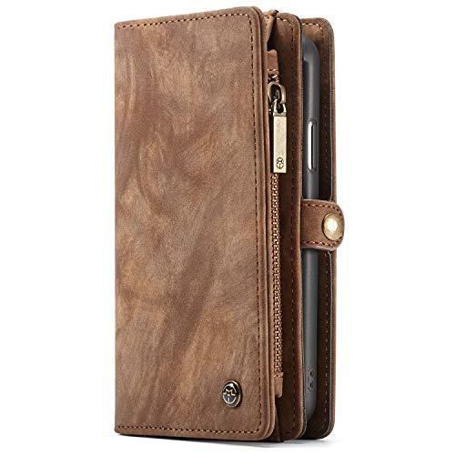 """CaseMe Apple iPhone XR (6,1"""") Case Hülle Geldbörse mit Kredit Kartenfächer [Geldscheinfach mit Reißverschluss] Premium mit abnehmbaren Magnet Handy Schutzhülle,"""