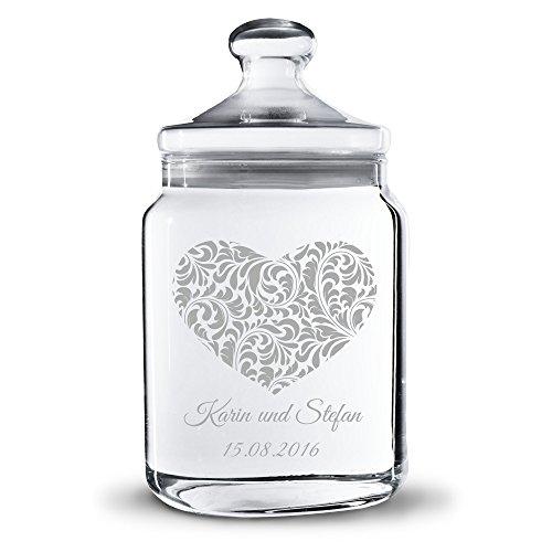 Personello Keksdose Keksglas Herz aus Glas mit Namen und Datum graviert, Vorratsglas zur Aufbewahrung, Geschenk zum Jahrestag, Valentinstag oder Hochzeit (Ideen Geschenke Hochzeit)