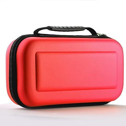 MallTEK Switch Case-Voyage de Transport pour Nintendo Switch avec 10 Slots Intégrés de Carte du Jeu, Housse Switch Rigide en EVA Coque de Protection Portable Anti-choc pour Nintendo Switch Manette & autre Accessoires (Rouge)