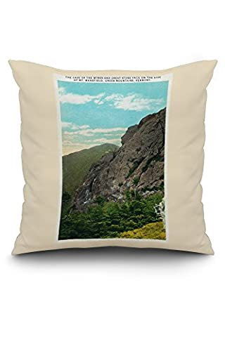 Mount Mansfield, Vermont - View of Cave of the Winds and Great Stone Face (20x20 Spun Polyester Pillow Case, White Border)