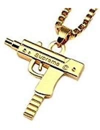 Exemption Fashion - Collar Chapado en Oro de 18 Quilates para Hombre con diseño de Pistola, 61 cm, Color Dorado