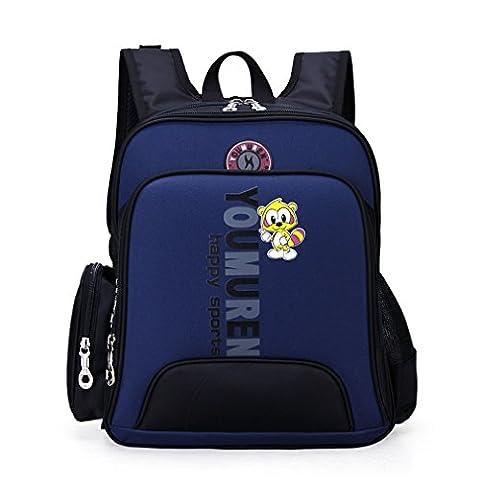 "La Vogue Girl Boy Kids Pink Backpack Primary School Puppy Pattern Black Size 14""x12""x5"" (Dark Blue)"